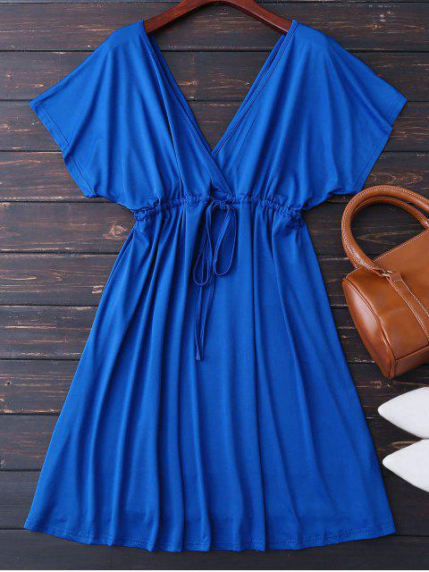 affordable Plunge V Back Drawstring Dress - ROYAL M Mobile