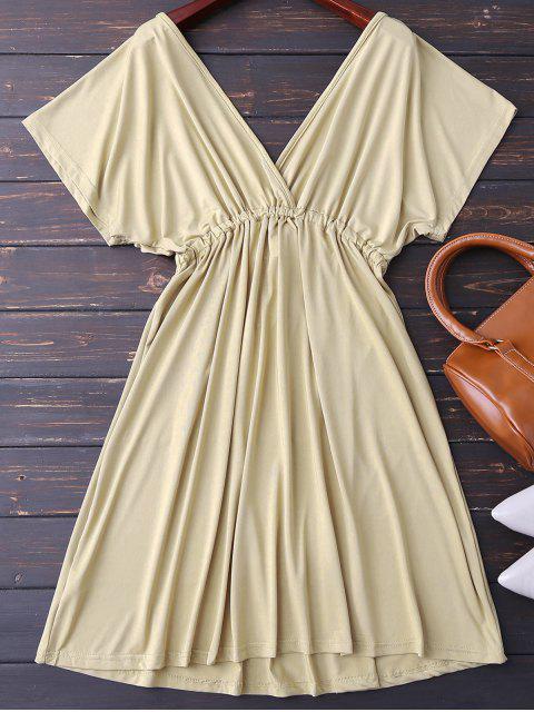 trendy Plunge V Back Drawstring Dress - KHAKI M Mobile