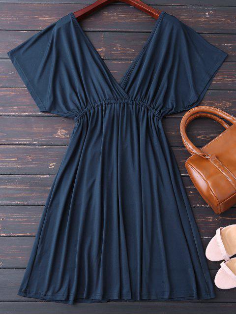 fashion Plunge V Back Drawstring Dress - PURPLISH BLUE XL Mobile