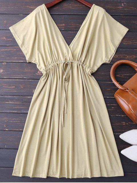 shops Plunge V Back Drawstring Dress - KHAKI XL Mobile