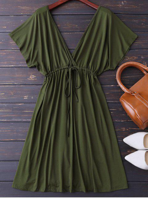 outfits Plunge V Back Drawstring Dress - ARMY GREEN L Mobile