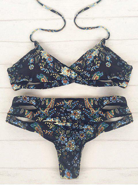Bikini a motif avec bande enroulée - Noir XL Mobile