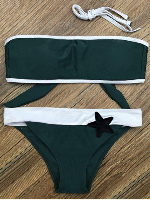 outfit Color Block Star Patched Bikini Set - GREEN XL Mobile