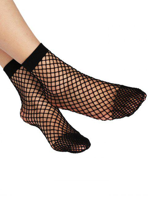 sale Fish Net Plain Ankle Socks - BLACK  Mobile