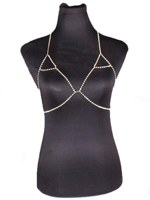 Chain Rhinestoned Triangle Body Bra - Or  Mobile