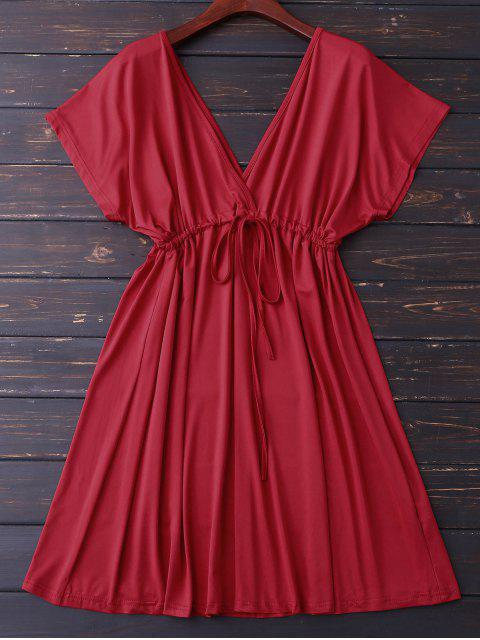 fancy Plunge V Back Drawstring Dress - RED L Mobile