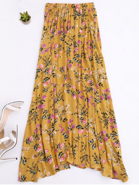 women Front Slit Tiny Floral Maxi Skirt - YELLOW M Mobile