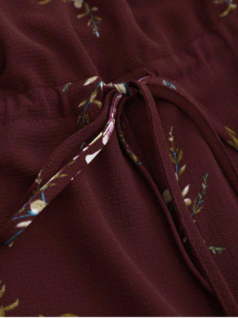 shops Off Shoulder Drawstring Waist Floral Romper - WINE RED L Mobile