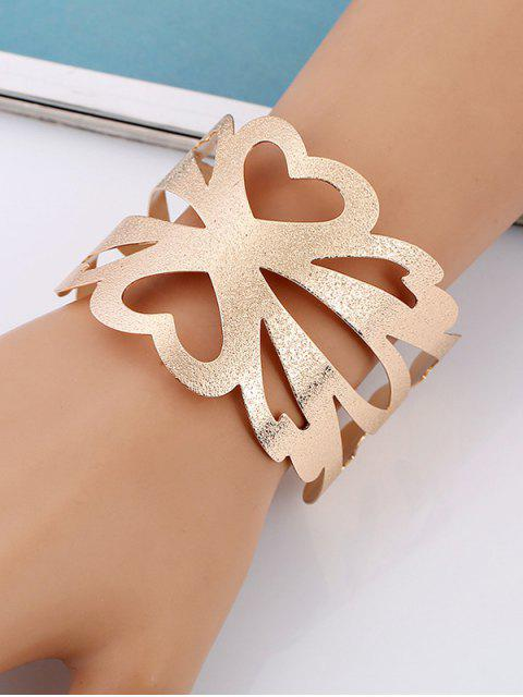 fancy Hollow Out Floral Metal Cuff Bracelet - GOLDEN  Mobile
