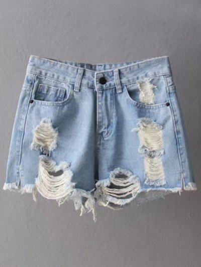 Ripped Denim Cutoffs Shorts - Light Blue L
