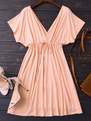 Vestido Con Escote Pico De Espalda Con Cordón - Rosa M