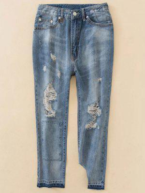 Boyfriend Jeans Gastados - Azul Xs