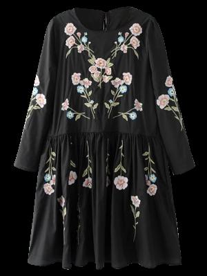 Floral Que Fluye Vestido De La Túnica Y Sin Mangas - Negro S