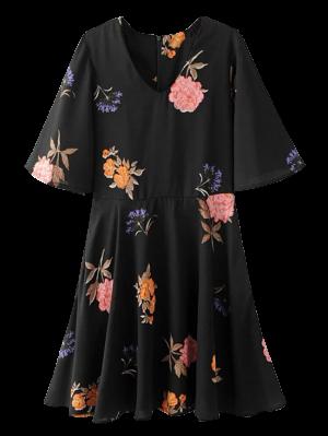 Vestido Floral Del Patinador Flippy - Negro S