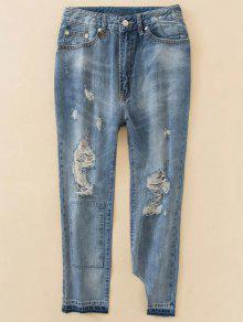 Distressed Boyfriend Jeans - Blue Xs