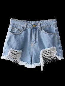 Fishnet Insert Ripped Denim Cutoff Shorts BLUE Shorts L | ZAFUL