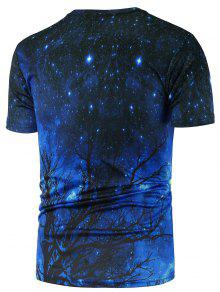d247f775fd46 Crew Neck 3D Tree Print Galaxy T-Shirt