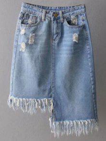 Asymmetrical Frayed Denim Pencil Skirt - Light Blue S