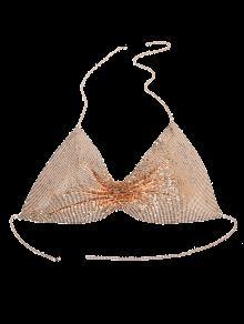 Chain Paillettes Agrémentée Body Bra - Or