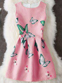 Papillon Imprimer Embossed Mini Robe Sans Manches - Pastèque Rouge S