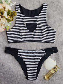 Round Neck Striped Cut Out Bikini Set - Stripe M