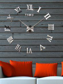 3d الأرقام الرومانية دي الاكريليك مرآة ساعة الجدار ملصق - فضة