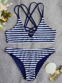 Cross Back Striped Strappy Bikini Set - Stripe M