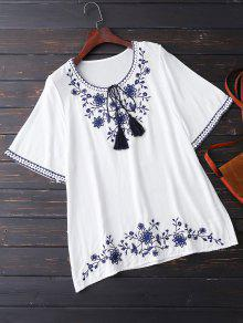 Embroidered Half Sleeve Blouse - White