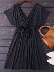 Plunge V Back Drawstring Dress - Black M