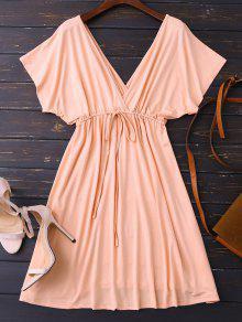 Plunge V Back Drawstring Dress - Pink Xl