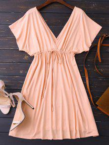 Plunge V Back Drawstring Dress - Pink M