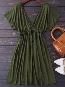 Plunge V Back Drawstring Dress - Army Green M