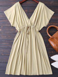 Plunge V Back Drawstring Dress - Khaki Xl