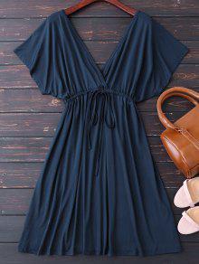 مشد V فستان غارق الظهر على شكل - الأرجواني الأزرق Xl
