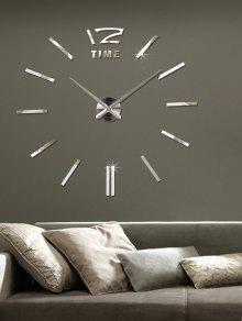 3d تعديل حجم دي الاكريليك مرآة ساعة الجدار ملصق - فضة