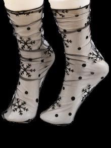 جوارب الرباط شير مع نجم أو ندفة الثلج جاكار - الأسود الكامل