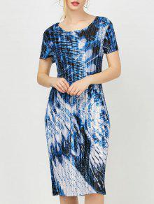 Vestido De Bainha Plissada Impresso Em Floral Impresso - Azul M