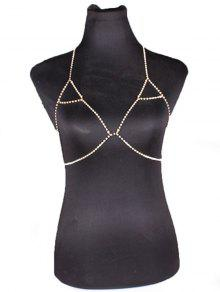 Buy Rhinestoned Triangle Bra Body Chain - GOLDEN