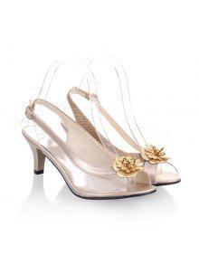 Slingback Sandals Plástico Transparente - Dourado Claro 38