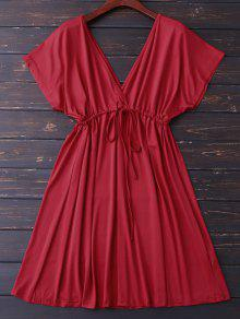 Plunge V Back Drawstring Dress - Red M