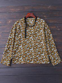 V Neck Choker Floral Blouse - Yellow Olive M