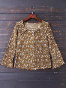 Button Up Floral Flare Sleeve Shirt - Brown S