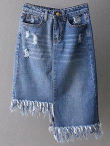 Asymmetrical Frayed Denim Pencil Skirt - Deep Blue S