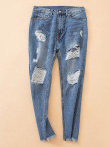 Distressed Frayed Hem Tapered Jeans - Denim Blue Xs
