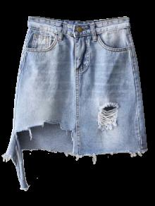 2018 Asymmetric Frayed Hem Distressed Denim Skirt In Light