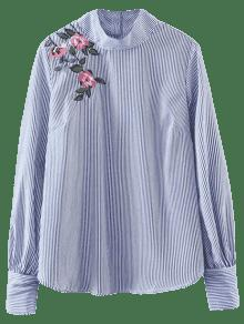 Floral Striped Pullover Shirt - Stripe S