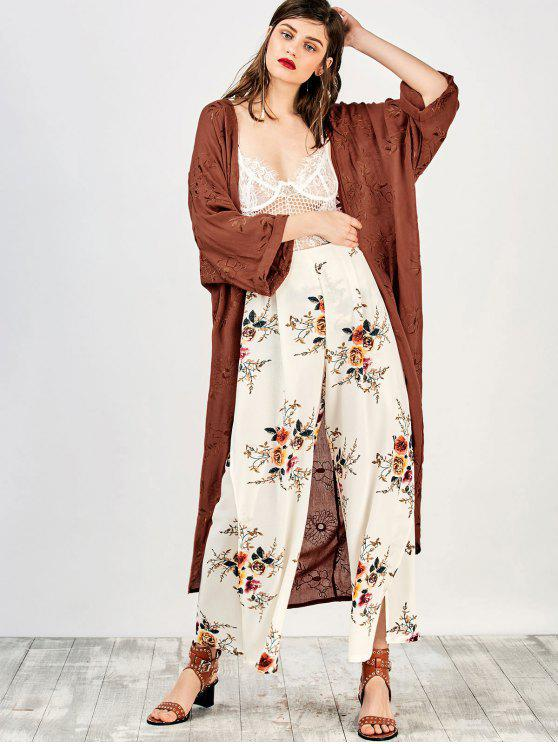 lady Embroidered Open Front Kimono Dust Coat - BRICK-RED S