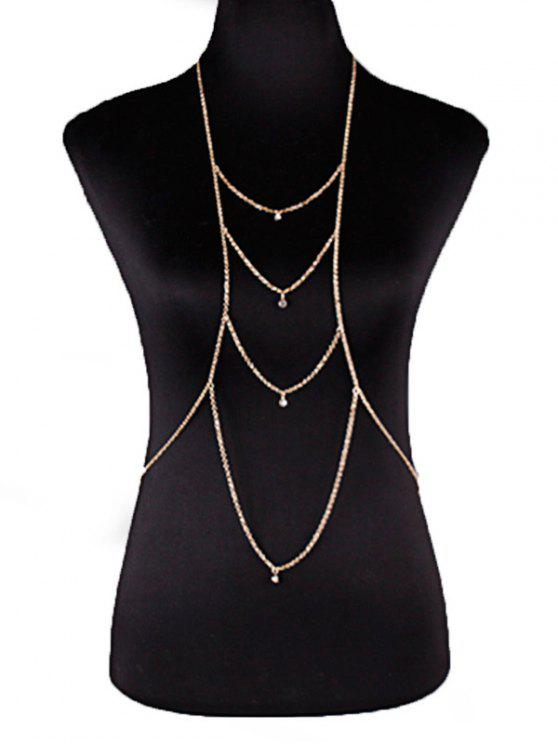 chic Rhinestoned Layered Body Chain - GOLDEN