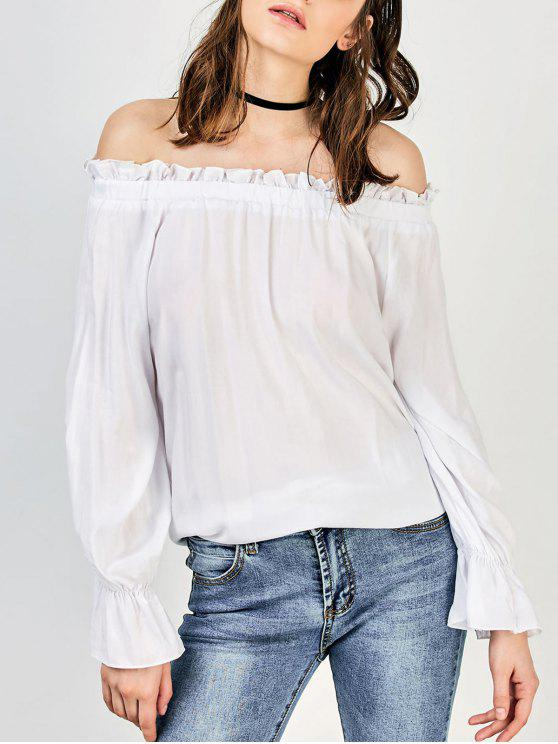 outfit Front Knot Off The Shoulder Top - WHITE XL
