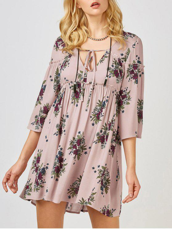 fancy Floral Print Smock Babydoll Dress - PINK S